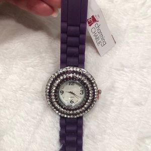 PURPLE RHINESTONE WATCH